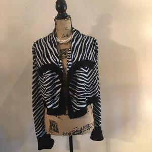 Juniors RUE 21 Zebra Print Crop Cardigan Sweater
